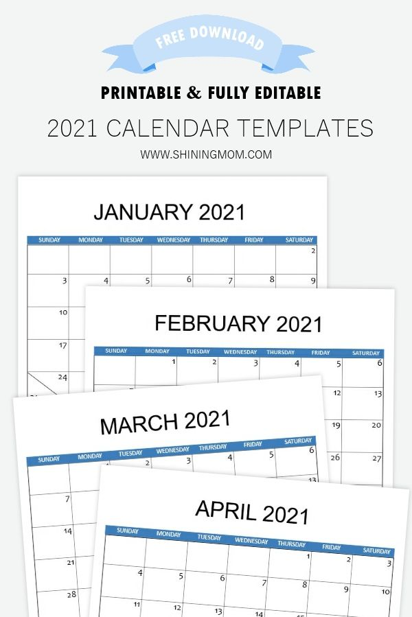 2021 Calendar Template For Instant Download In 2021 Calendar Printables Calendar Template 2021 Calendar