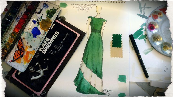 "The ink and watercolour design behind the ""A Green for all the Green"" dress by Nymph Nouveau."