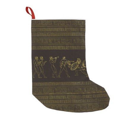 Ancient Sparta  Greece scene on greek pattern Small Christmas Stocking - christmas stockings merry xmas cyo family gifts presents