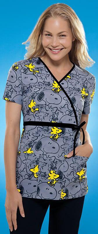 Scrubs - Cherokee Tooniforms 100% Cotton For The Birds Side Tie Mock Wrap Scrub Top | Lydias Scrubs and Nursing Uniforms
