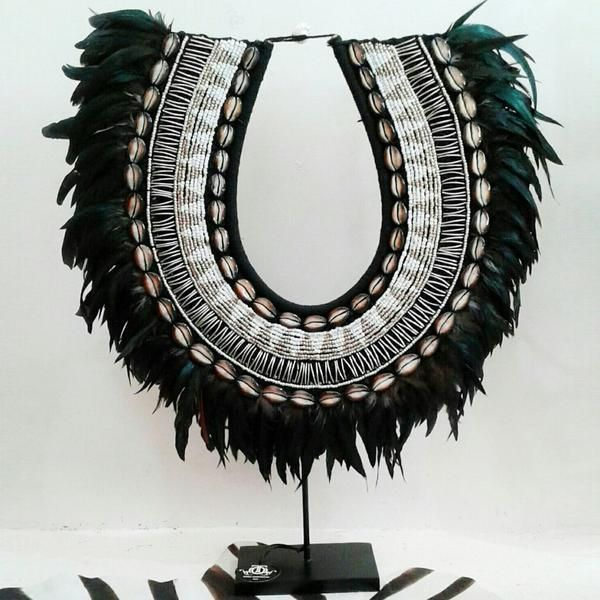Love Large – Stunning Shell Bead and Feather Tribal Necklace