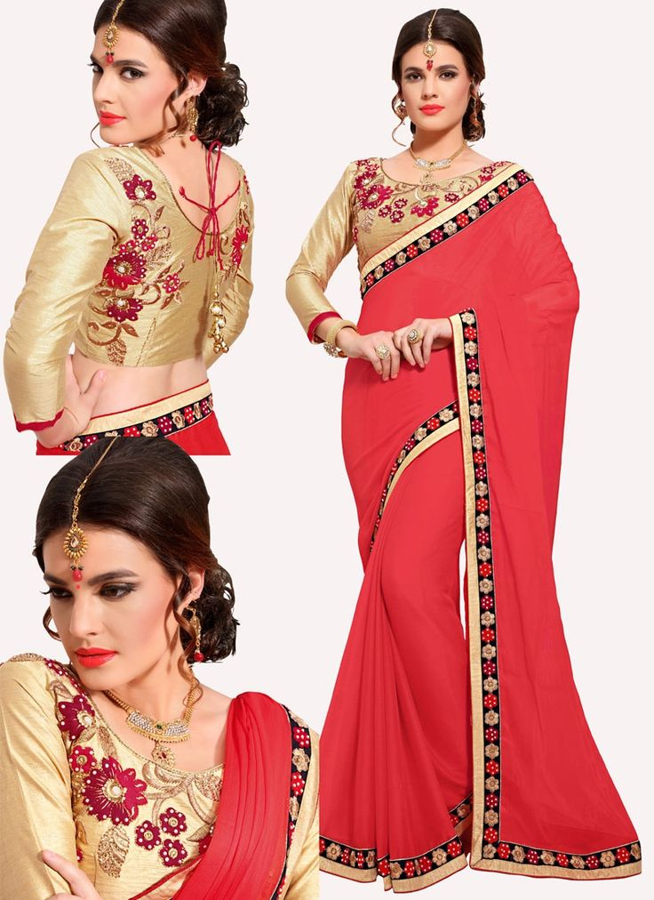 Sareebuzz: Get dressed with this great and superb piece and make your fantasy clothing look wealthier to your persona. Keep ahead in style with this peach Georgette fashioner Saree. Accompanies coordinating pullover