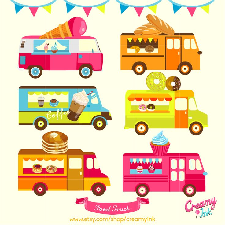 Food trucks digital clip art featuring coffee food truck, ice cream food truck, cupcake food truck and more. #clipart #vector #design See more at CreamyInk.etsy.com