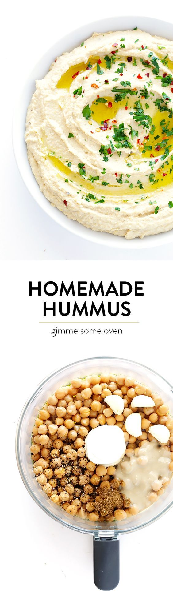 Learn how to make delicious homemade hummus with this classic (and super-easy) recipe!  It's ready to go in just 5 minutes! | gimmesomeoven.com