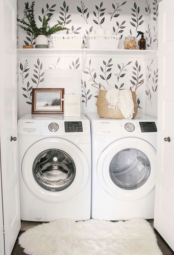 laundry room home inspiration. cute and simple wallpaper ideas. spring cleaning …