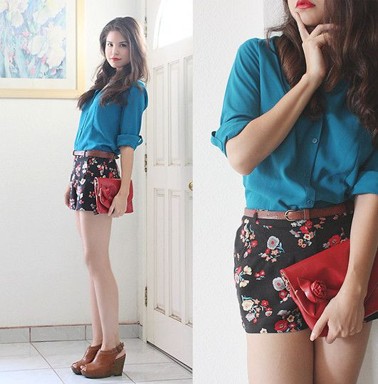 Turquoise Shirt, Forever 21 Floral Shorts, Red Roses Clutch, Glo Tan Wedges, Visit My Blog!
