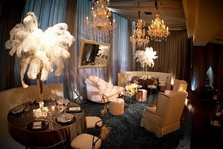 Old Hollywood themed events are dramatic and the decor should represent all things elegant and glamorous. Tables should be layered in lush arrangements while using classic flowers such as: roses, peonies and calla lilies. Create lounges for your guests to relax in Hollywood Regency feel.