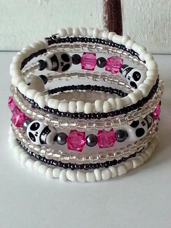 Memory wire bracelet, skull bracelet, white skull, glass beads, acrylic beads, pink bracelet,  wrap bracelet, white, sweet, elegant,