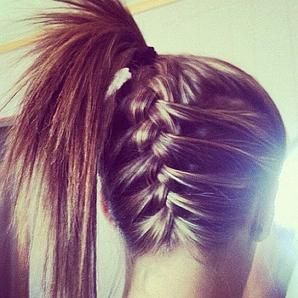 upside down braided ponytail