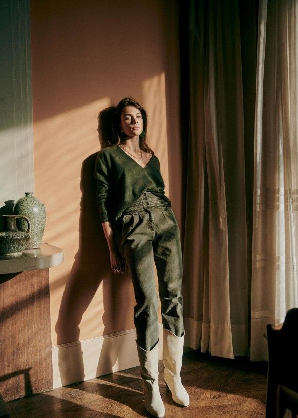Sidney Trousers Khaki Chrome Free Ovine Leather Sezane Sezane Trousers Her Style