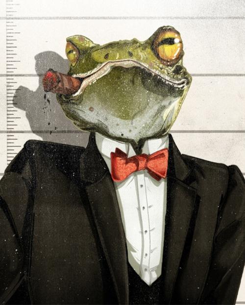Gangster Frog - Illustration http://www.pinterest.com/lshiryaeva/%D0%BB%D1%8F%D0%B3%D1%83%D1%88%D0%BA%D0%B8/