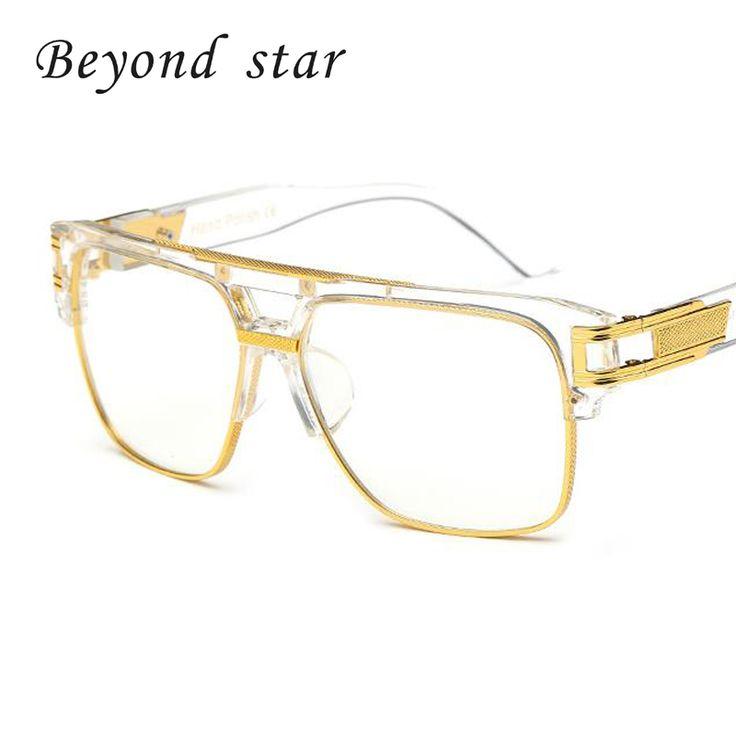 Beyond Star New Large Square Frame Glasses Luxury Women Men Brands New Metal Frames UV400 Eyewear Oversized Clear Lens Glasses