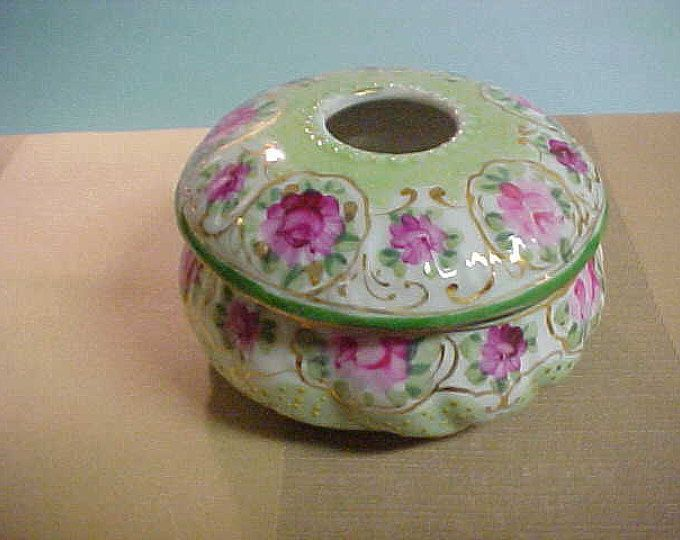 Vintage hair Receiver from about 1910, Hand Painted Flowers all Arround FREE SHIPPING USA