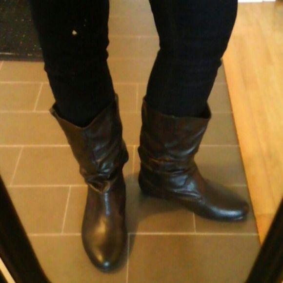 Boots Dark brown flat boots top moda Shoes Winter & Rain Boots