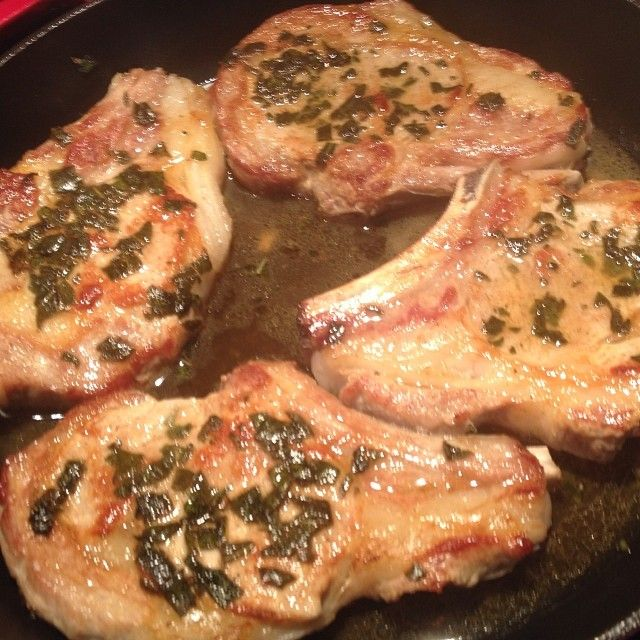 Veal Cutlets with Sage made in a cast iron skillet