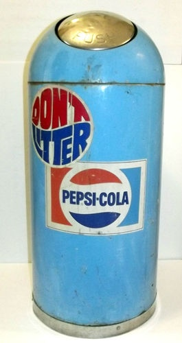 Bennett Manufacturing Pepsi Cola Metal Advertising Trash
