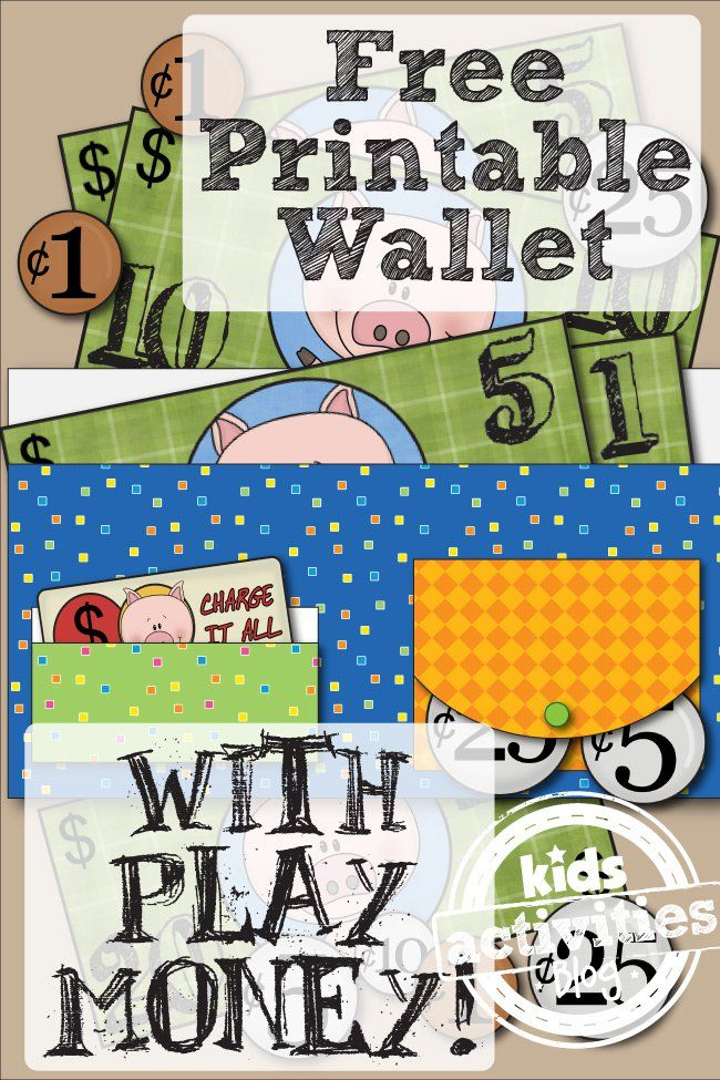 Free Printable Wallet With Play Money makes learning and practicing US Money fun and easy!  FREE from Kids Activities Blog.  Made by Little Learning Lovies.