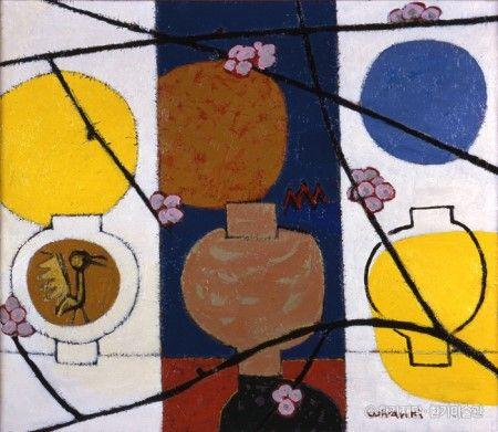 항아리와 매화(Jar and Plum Blossom) by Whanki Kim. Korea artist. 1954 Oil on canvas