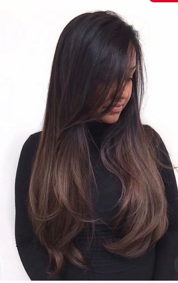 Dark Brunette With Subtle Bayalage Ombre Hair Styles Balayage Hair Hair Color Dark
