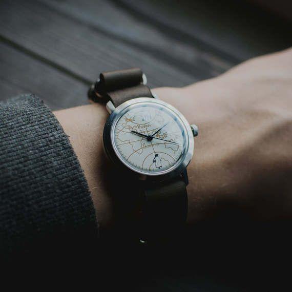 RARE military wristwatch Buran World map, white watch, USSR watch men, Buran watches, retro watch, vintage watches, watch for him