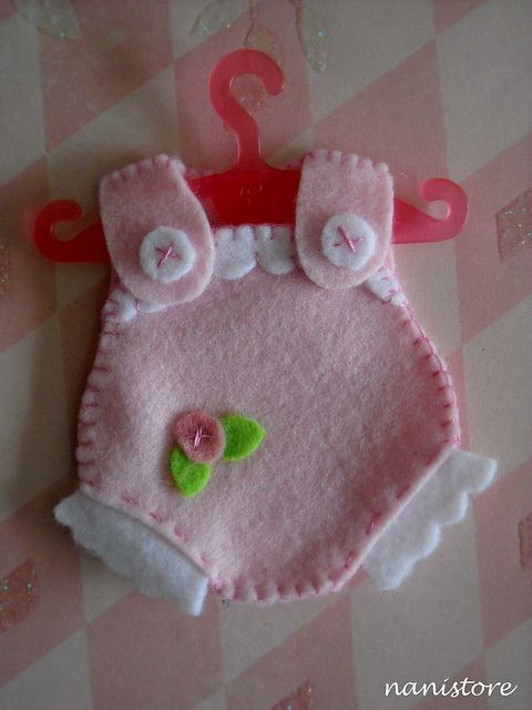 "Felted Pink Baby Outfit....would be great for a ""girl"" baby shower!"