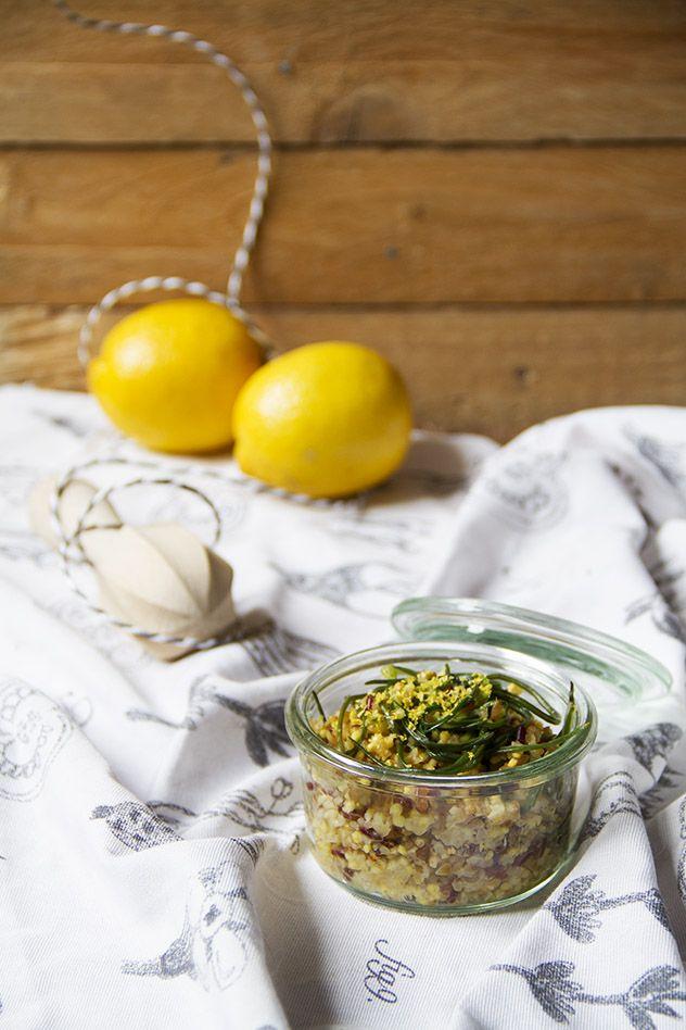 Bulgur integrale, miglio e riso rosso con limone e agretti