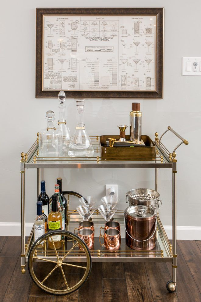whiskey bar home transitional with carts