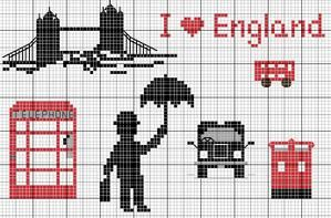 Pays - country - angleterre - point de croix - cross stitch - Blog : http://broderiemimie44.canalblog.com/