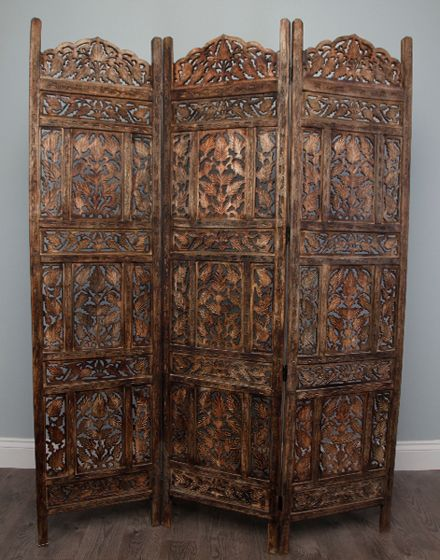Love this stunning wood carved triple panel wall divider from Morocco!