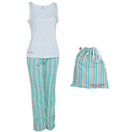 Curve Lurve Pyjamas - ($25) Lurve your curves, even when you're sleeping! This cute PJ set comes with a white relaxed fitting tank top and striped elasticised waistband pants with drawstring & side pockets. The set comes with a cute matching draw string and subtly features the Curve Lurve logo. http://shoppink.mcgrathfoundation.com.au/prodetail.asp?proid=36351&tags[]=Fashion
