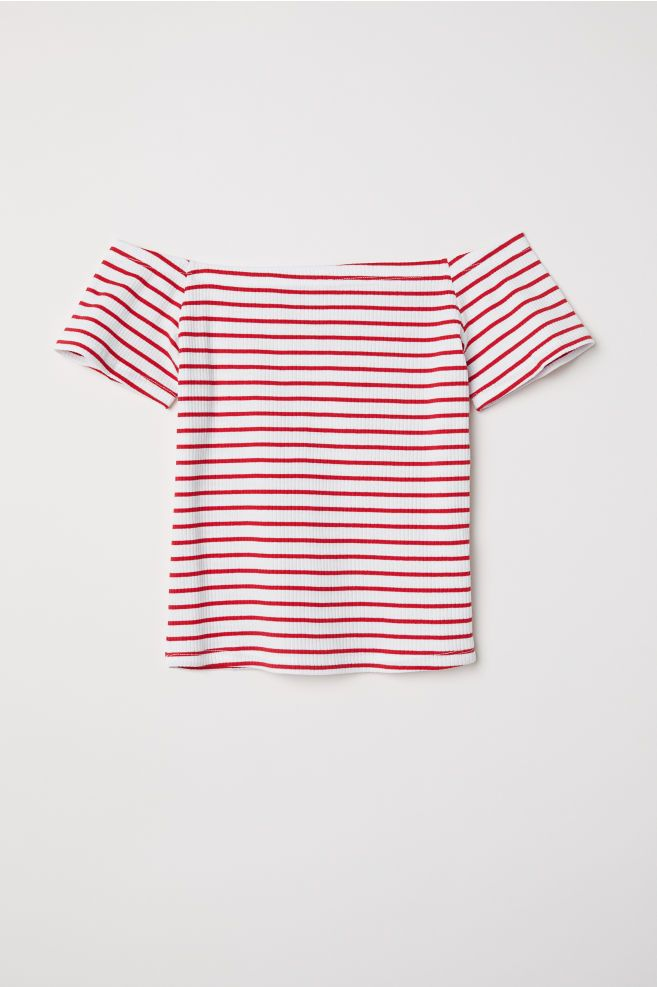 3cfc66db3e H&M Ribbed Off-the-shoulder Top - Red in 2019   H&M   Tops, Shoulder ...