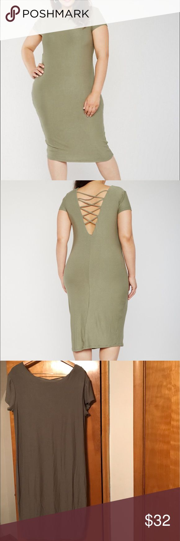 Sexy Army Stretch Dress Super cute casual summer dress in classic army green. Back has cross straps. Never worn before tags still attached. Not long to the floor like a maxi dress so if you're short like me then this is the perfect length for you. Dresses Midi