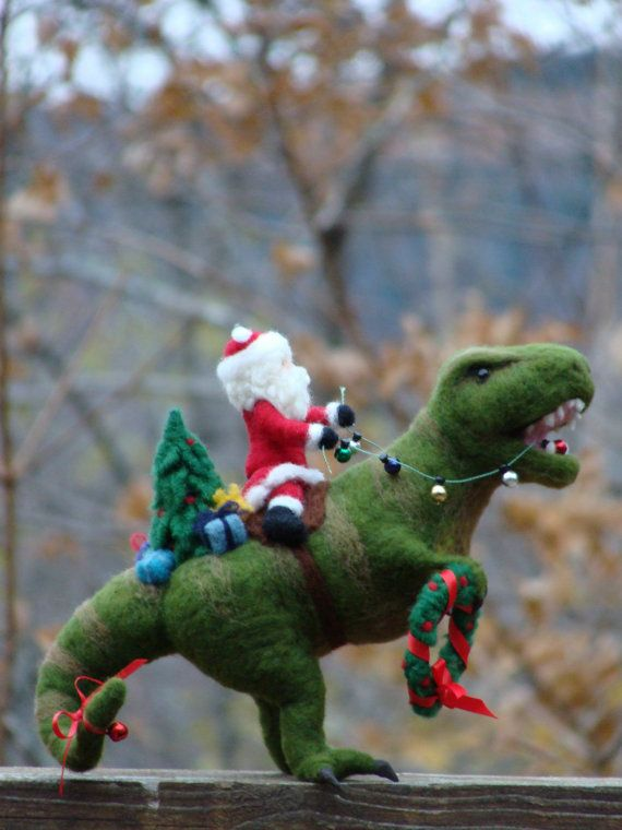 RESERVED - Needle Felted T-Rex Dinosaur and Santa Claus ...