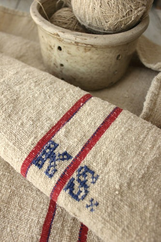 Lovely Vintage Grain sack from Europe ~ lovely feedsack texture and weight! Hand stitched monogram ~ Lovely nautical look ~ ideal for beach interior ~
