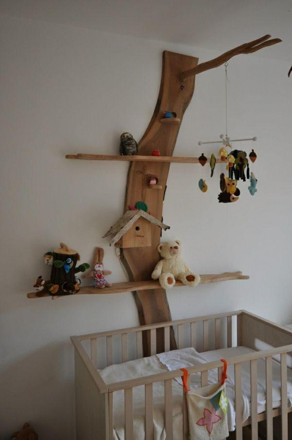 Babyzimmer gestalten mit offenen regalen ordnung und behaglichkeit wohnen kinderzimmer - Wandgestaltung kinder ...