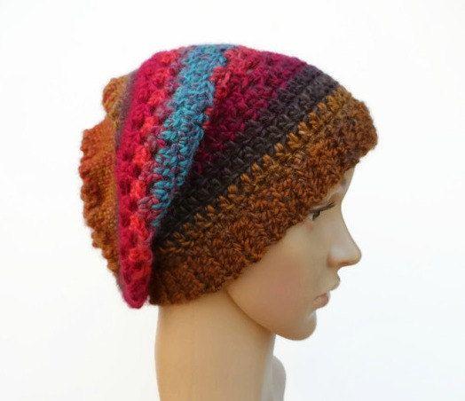 Ladies Crochet Multi-coloured Hat Boho Hat by MissCrocreations