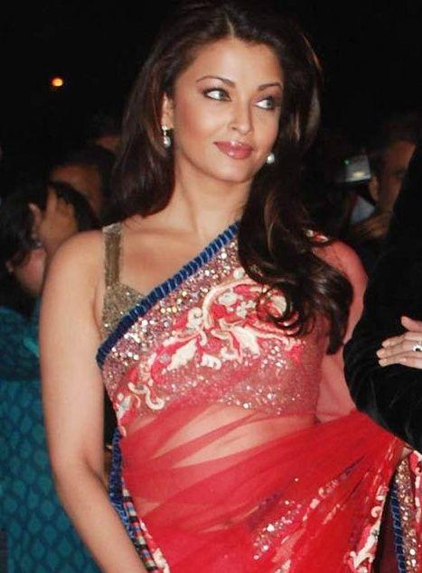 Bollywood replica designer red net saree-Aishwarya style