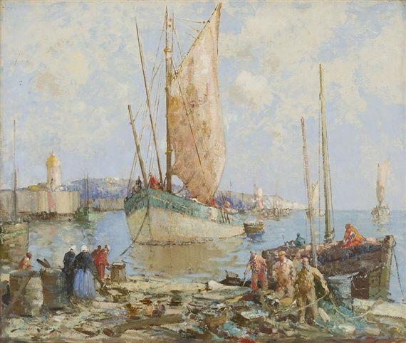 William Lee-Hankey - LANDING FISH, BRITTANY, oil...