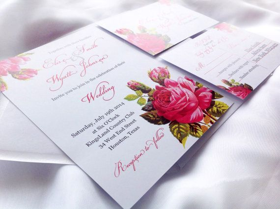 Roses Wedding Invitation Printed Vintage Flower Wedding  by MinimalMoon on Etsy, wording just an example