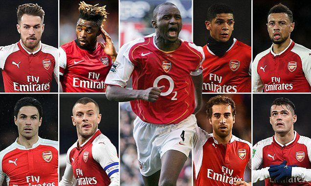 How are Arsenal midfielders since Patrick Vieira rated?
