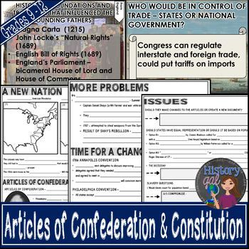 This is a 49 slide PowerPoint presentation on the creation of a New Nation under the Articles of Confederation and the creation of the Constitution. It includes information on the Critical Period, Creation of the Articles of Confederation, role of John Dickinson, Structure of government, Accomplishments and Weaknesses of the Articles of Confederation, and MORE!! Great for your 7th, 8th, 9th, 10th, 11th, and 12th grade classroom or homeschool students! Middle school & High School approved!!