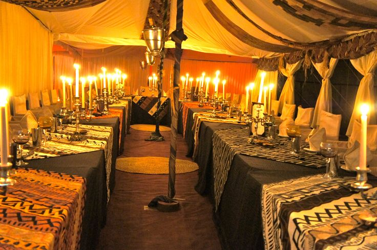 """""""Dinner is Served"""" - safari style 8 course wine paired dinners for up to 150 guests. Dinners are themed each evening in camp."""