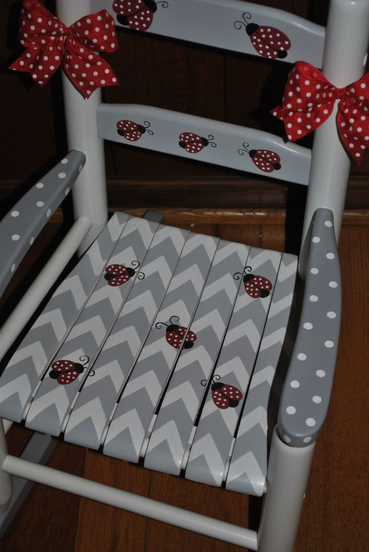 Children's Custom Chevron - Lady Bugs - Girls Rocking Chair-Baby Shower Gift, Nursery Furniture, Painted Child Chair by onmyown14 on Etsy https://www.etsy.com/listing/215139997/childrens-custom-chevron-lady-bugs-girls