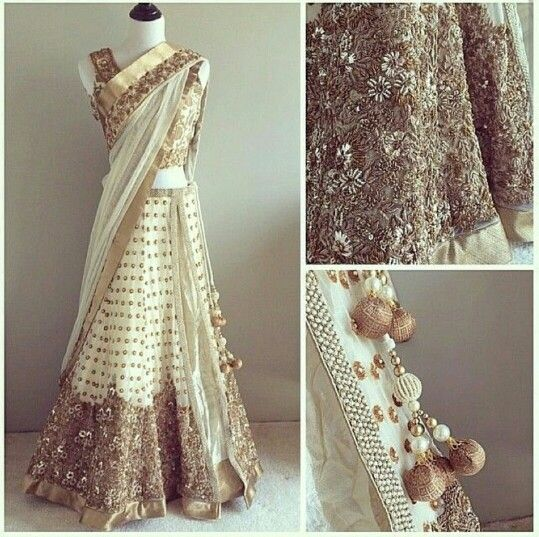White lehngha with mix of gold, silver and pearl details