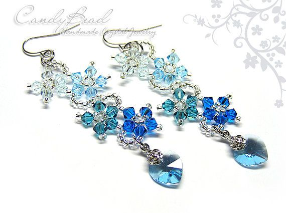 Swarovski Earrings Blue Shade Flower Dancing by candybead on Etsy, $12.50