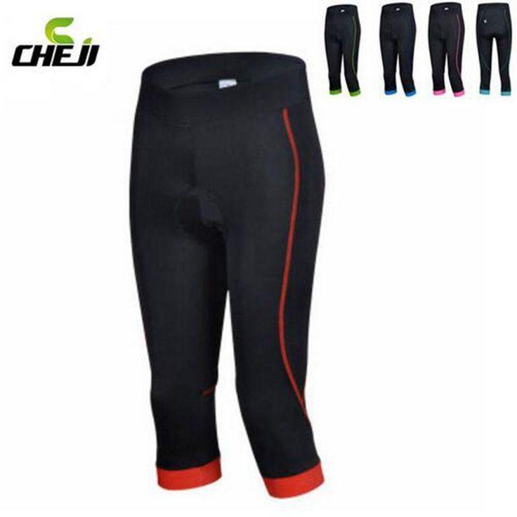 [Visit to Buy] CHEJI Women Cycling Clothing Bike Bicycle 3D GEL Padded Lycra Capri Pants Shorts S-XL 5-Colors #Advertisement