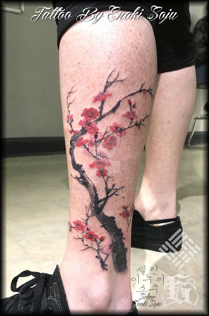 Sakura Cherry Blossom Tree Tattoo By Enoki Soju By Https Enokisoju Deviantart Com On Deviantart Blossom Tree Tattoo Cherry Blossom Tree Tattoo Tree Tattoo