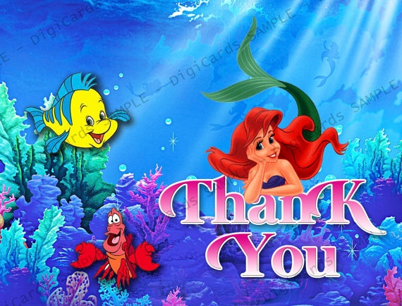 The Little Mermaid Thank You Card by DigiCards on Etsy, $4 ...