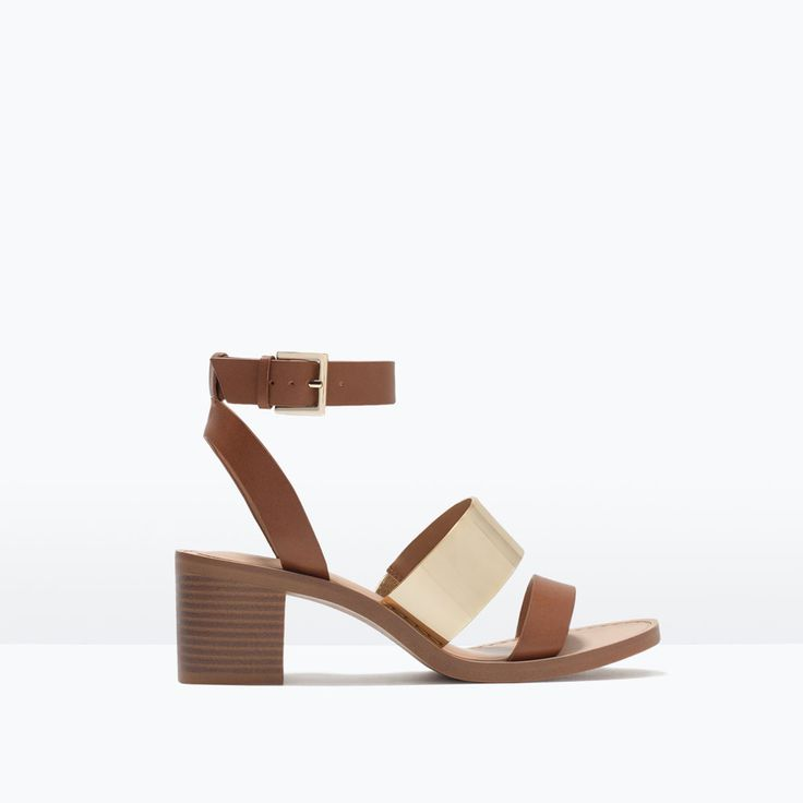 BLOCK HEEL SANDALS WITH METALLIC DETAIL-View all | ZARA United States
