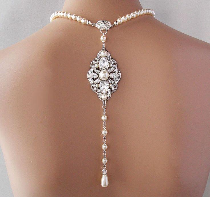 Backdrop Necklace - Bridal Necklace, Wedding Necklace, Pearl Necklace, Gatsby Necklace, Vintage Style, Art Deco Necklace - NOIRINE by AmbrosiaBridal on Etsy